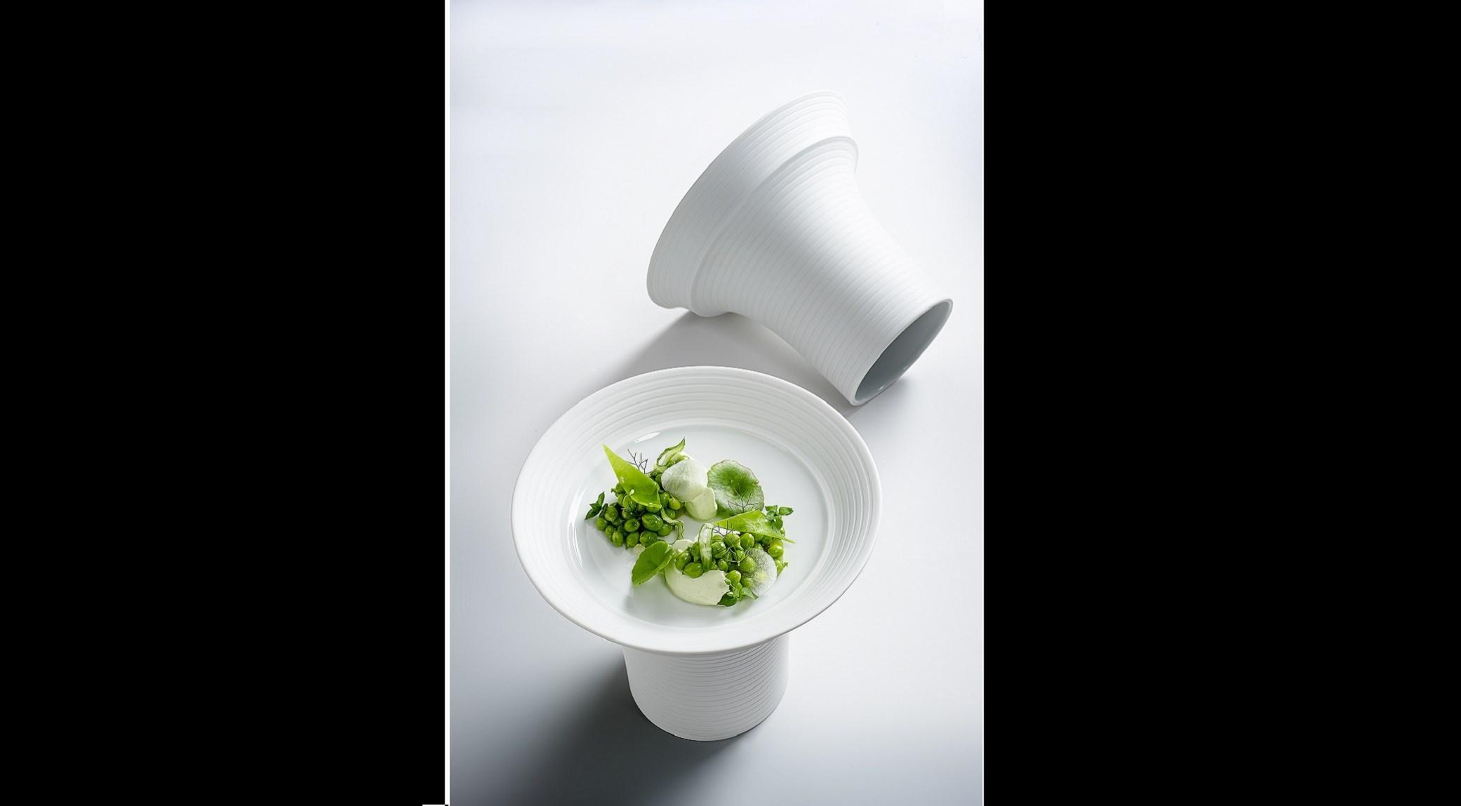 Green, crème à la chlorophylle, petit pois et kiwi