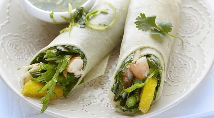 Wraps aux crevettes et mangue
