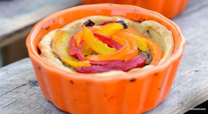 Tartelettes à la viande hachee et poivrons