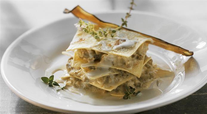 Lasagnes gorgonzola et aubergines