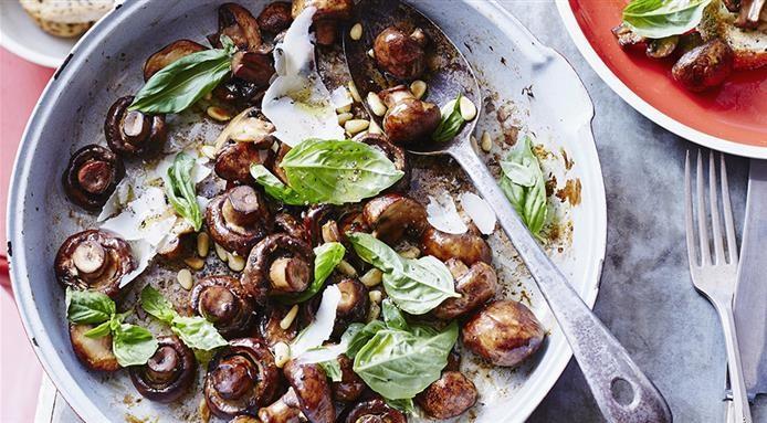 Poelee champignons et basilic