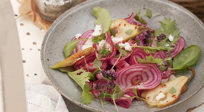 Salade betteravee poires et chèvre
