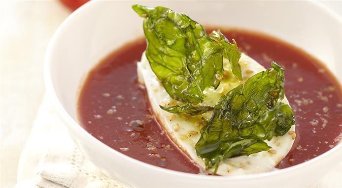 Gazpacho tomates, mozzarella et basilic